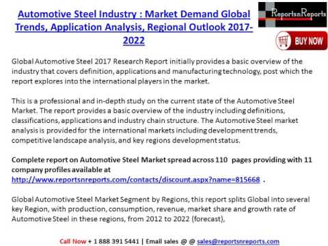 Global Automotive Steel Market 2017-2022 Growth, Trends and Demands Research Report