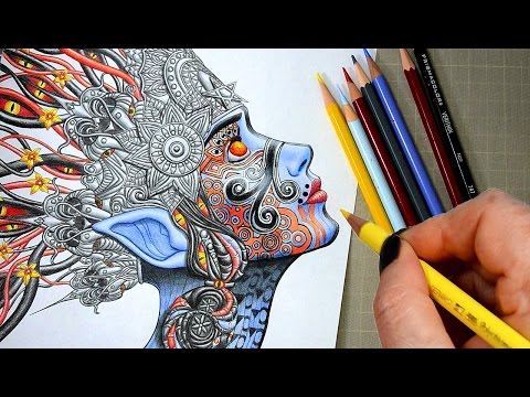 Coloring in the New Ayahuasca Coloring Book with Prismacolor Pencils | Relaxing Satisfying Videos