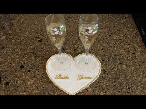 Wedding Champagne Glass Coaster Free Motion Embroidery & Machine Sewing (Free Pattern) - Episode 4