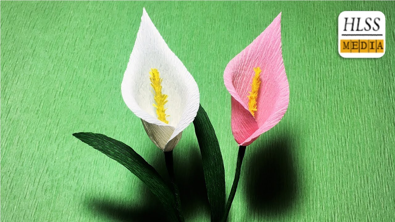 How To Make White Calla Lily Bouquet Paper Flower Calla Lily Crepe
