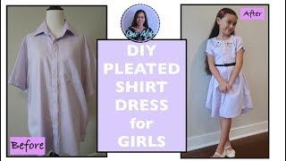 COVERT MEN SHIRT INTO A PLEATED SHIRT DRESS for GIRLS, MEN SHIRT TRANSFORMATION