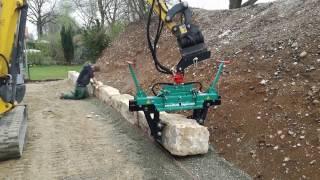 Steinzange S400-P von HUNKLINGER verlegt Quaderbruchsteine