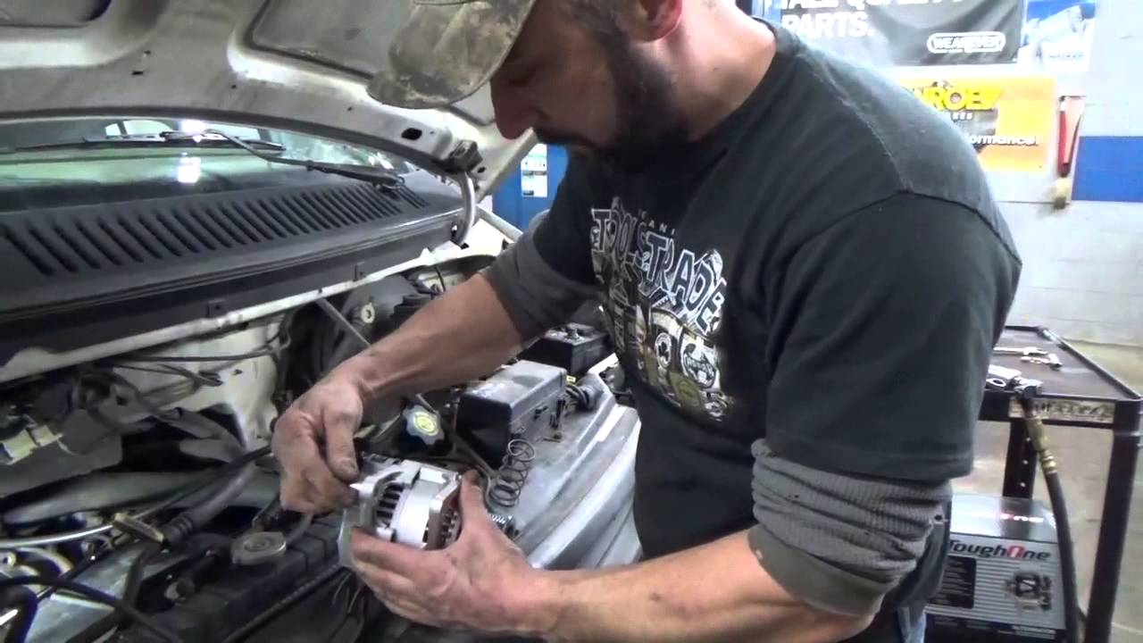 Alternator Tensioner Pulley Serpentine Belt Dodge 2500 1500 1996 Ram Wiring Diagram Van Youtube