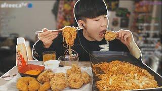KFC핫크리스피치킨 불닭볶음면 치즈추가해서 먹방 Muk…