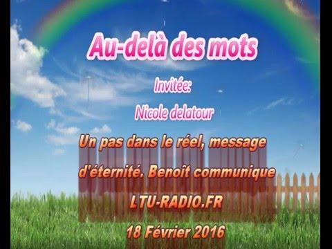 Au-delà des mots -  Nicole Delatour - Benoît communique avec nous depuis son départ. 18 02 2016