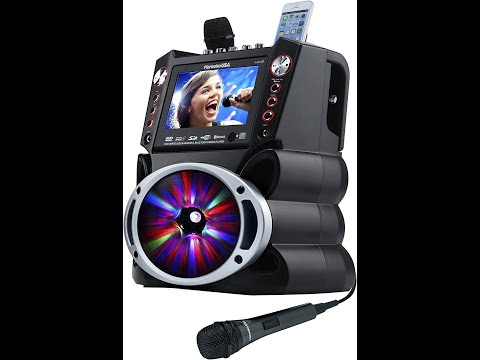 "Complete Karaoke System with 2 Microphones, Remote Control, 7"" Color Display, LED Lights"