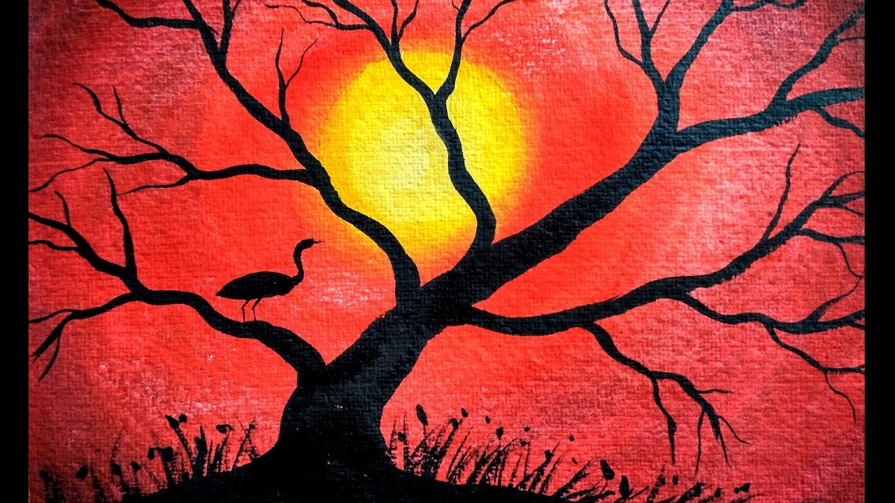 Sunset And Trees Painting For Beginners