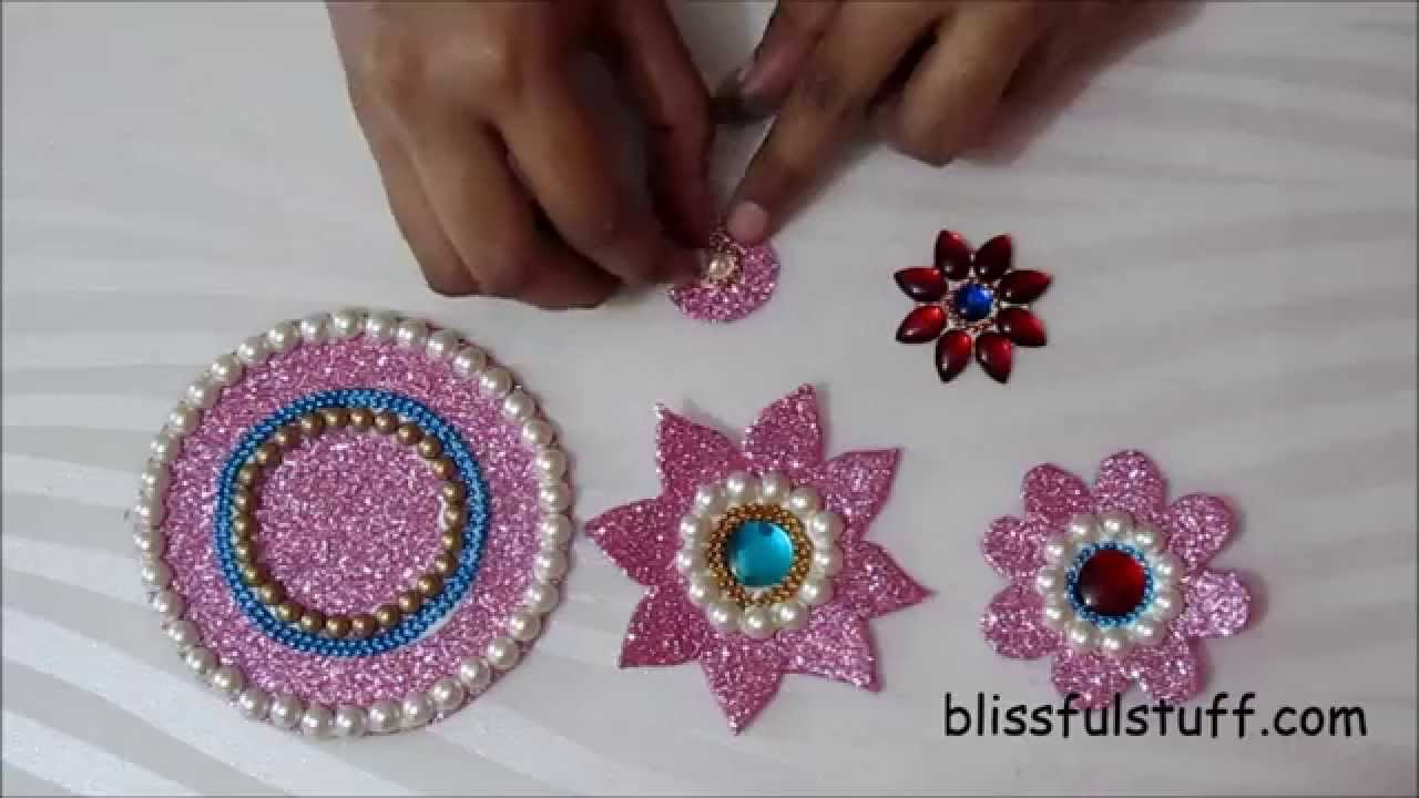Diy floating kundan diya rangoli and floating kundan for Art and craft diya decoration
