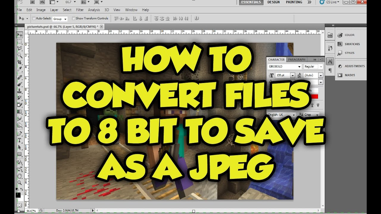 Photoshop Tutorial: How to Convert a 32 or 16 Bit image ...