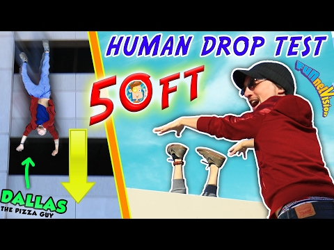 Thumbnail: HUMAN DROP TEST! 50+ Feet Down w/ DALLAS the Pizza Guy! + DIY iPod Case Experiment (FUNnel Vision)