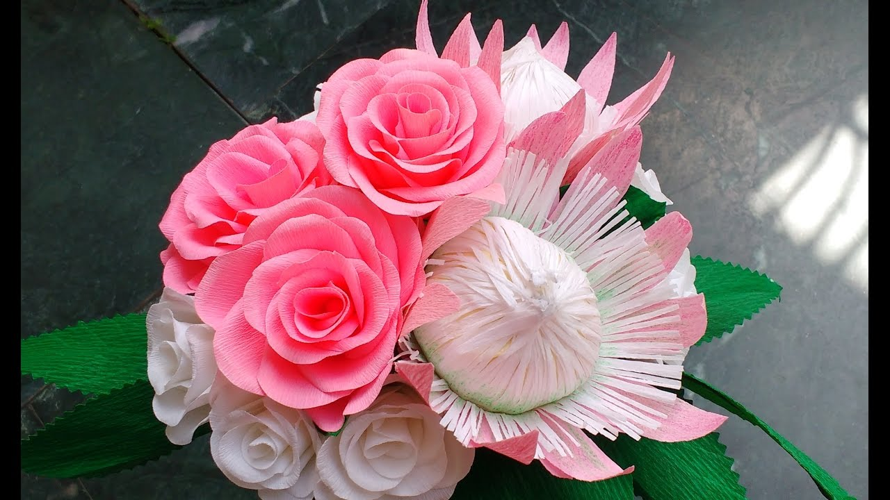 diy how to make paper flower bouquet