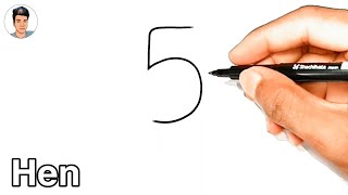 How To Draw A Hęn From Number 5   How To Draw A Hen Easy   Hen Drawing Tutorial   Easy Drawing