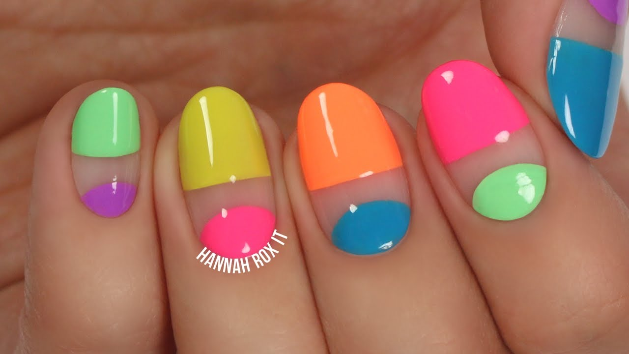 Easy Neon Negative Space Nail Art - YouTube