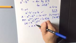 Induction: Divisibility Proof example 6 (a^n - b^n is divisible by a - b)