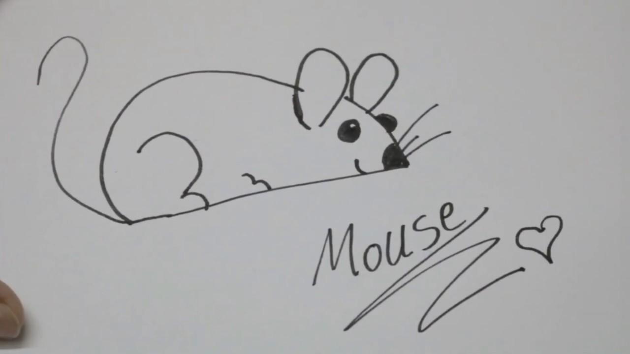 طريقة رسم فأر - How to draw a mouse