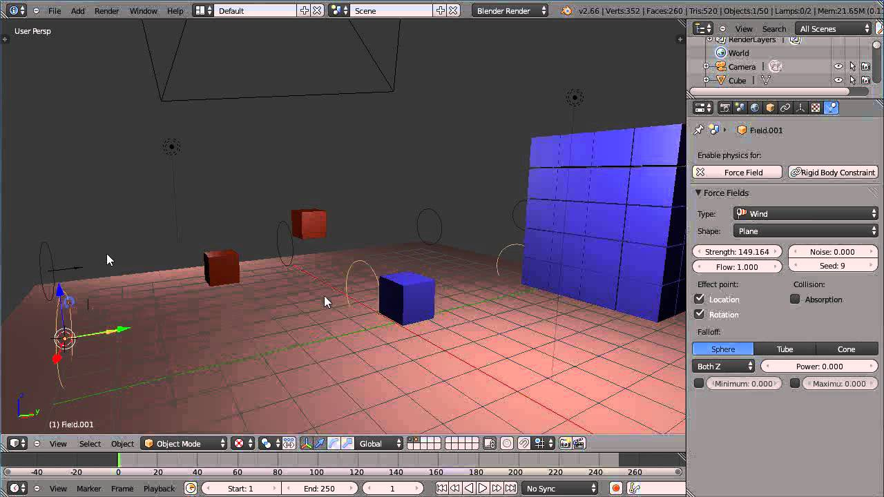 Blender 2 66 Tutorial - Rigid Body Dynamics - Collision Groups, Layers,  Mass and Wind