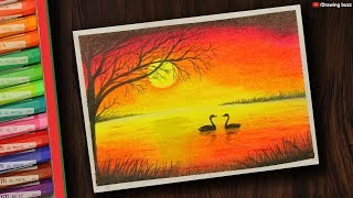 Gambar cover Beautiful Sunset Scenery with Oil Pastels step by step | Drawing Buzz