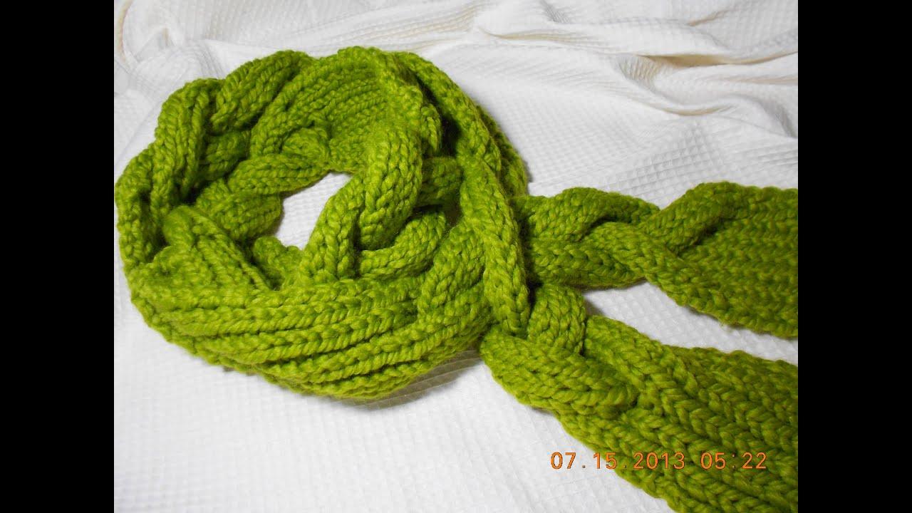 BUFANDA EN TRENZA con agujas punto elastico Crochet Scarf - YouTube