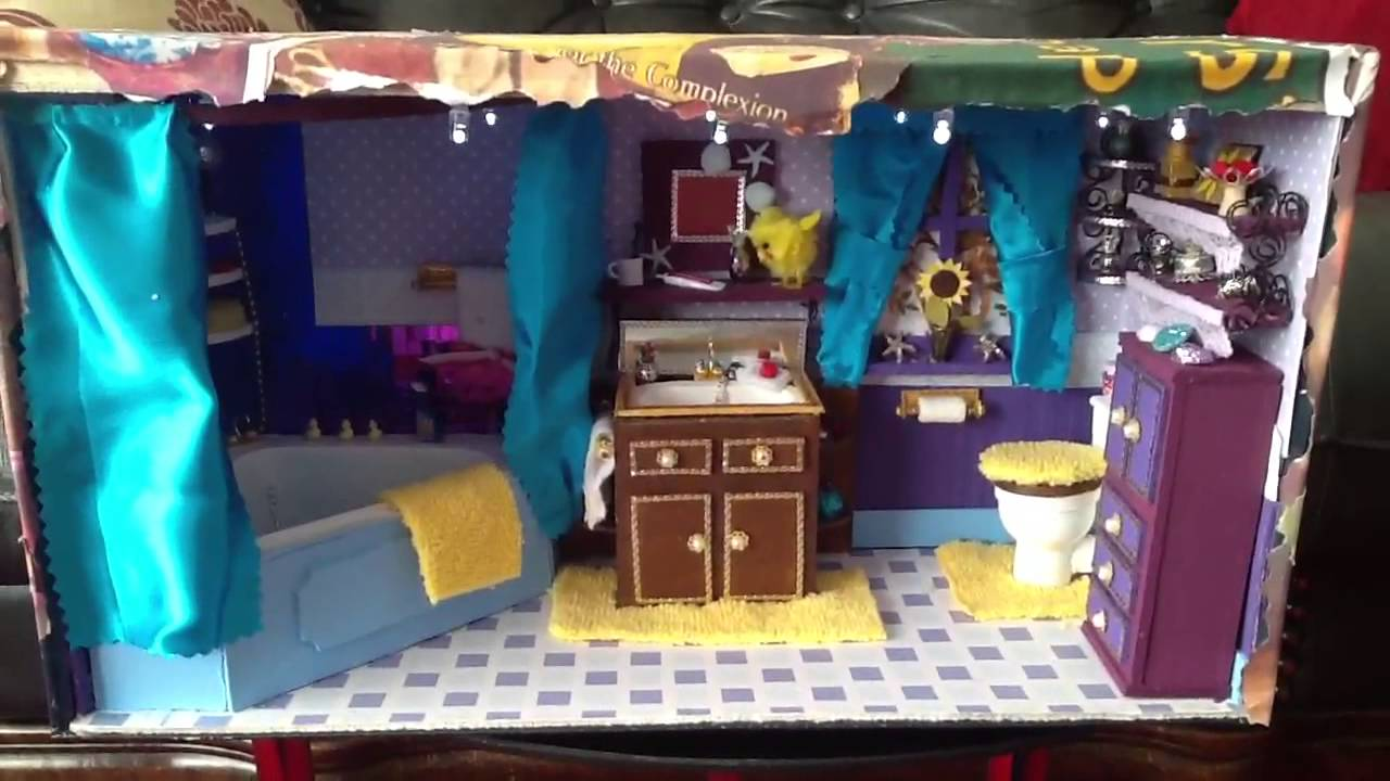 Shoe Box Dollhouse Craft For Kids: Dolls House Bathroom Made From A Shoebox