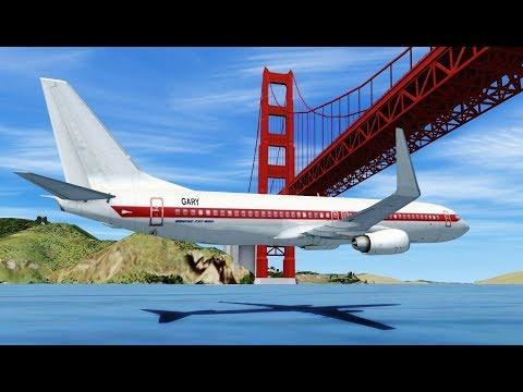 Flying a 737 UNDER the Golden Gate Bridge! Flight Sim X (Multiplayer)