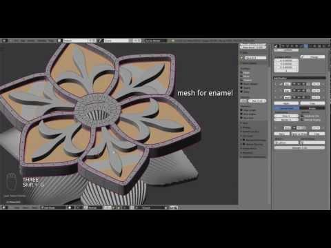 Jewelry design: Blue Flower modelling rendering