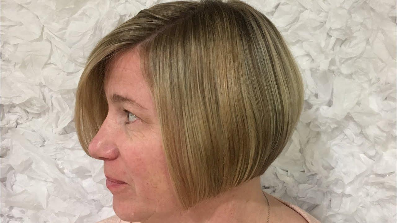 How to cut Straight razor bob haircut - YouTube