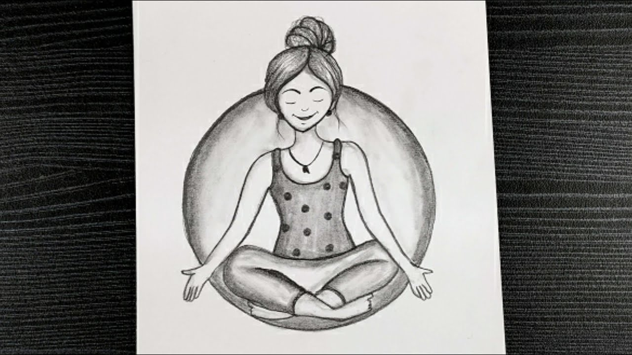 World Yoga Day Drawing How To Draw Yoga Day Special Drawing Easy Pencil Drawing Youtube