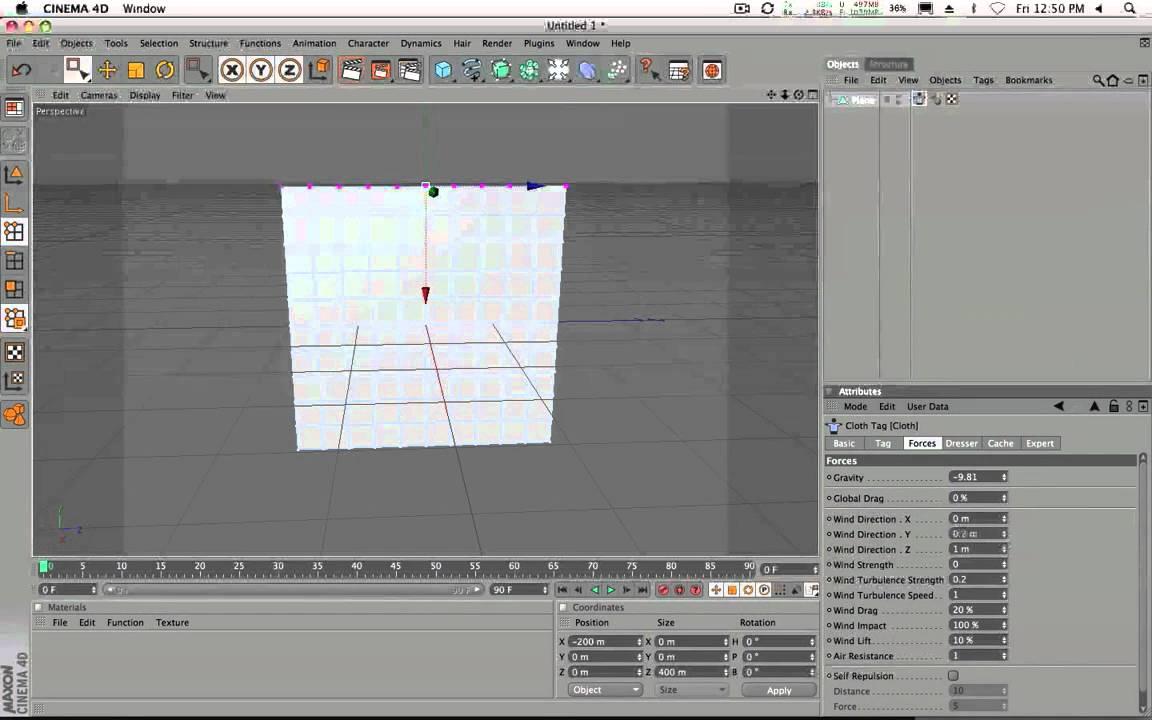 C4D Cloth Wind effect HD (Easy Tutorial)