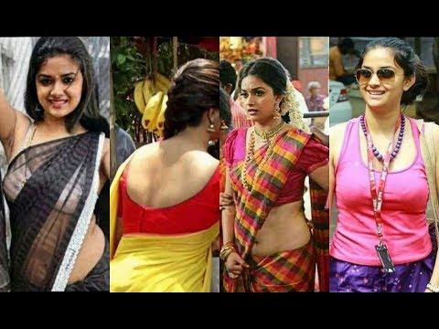 Keerthi Suresh Hot Moments in saree