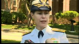 1st woman to lead Coast Guard academy takes command