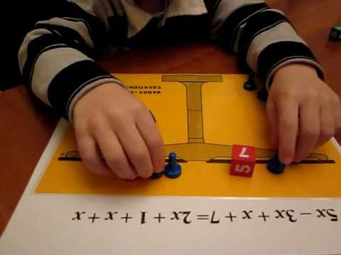 7-year old demonstrating Lesson 5 of Hands-On Equations