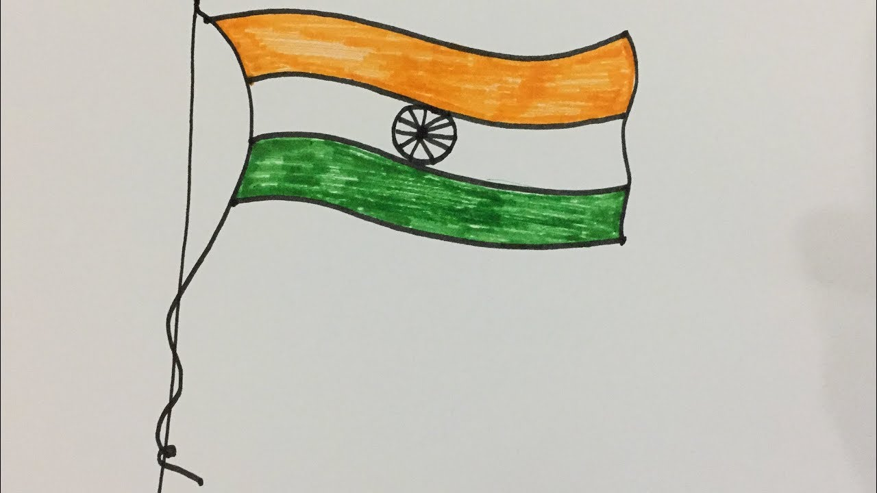 Indian Flag Coloring Page: How To Draw Flying Indian National Flag And Color It For