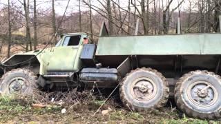25 тонный автокран вытаскивает ЗИЛ 131 из кювета в Калуге
