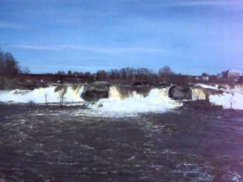 waterfall, great falls of the androscoggin river, auburn, maine