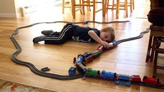 BUILDING A HUGE THOMAS TRAIN TRACK THROUGH OUR HOUSE!