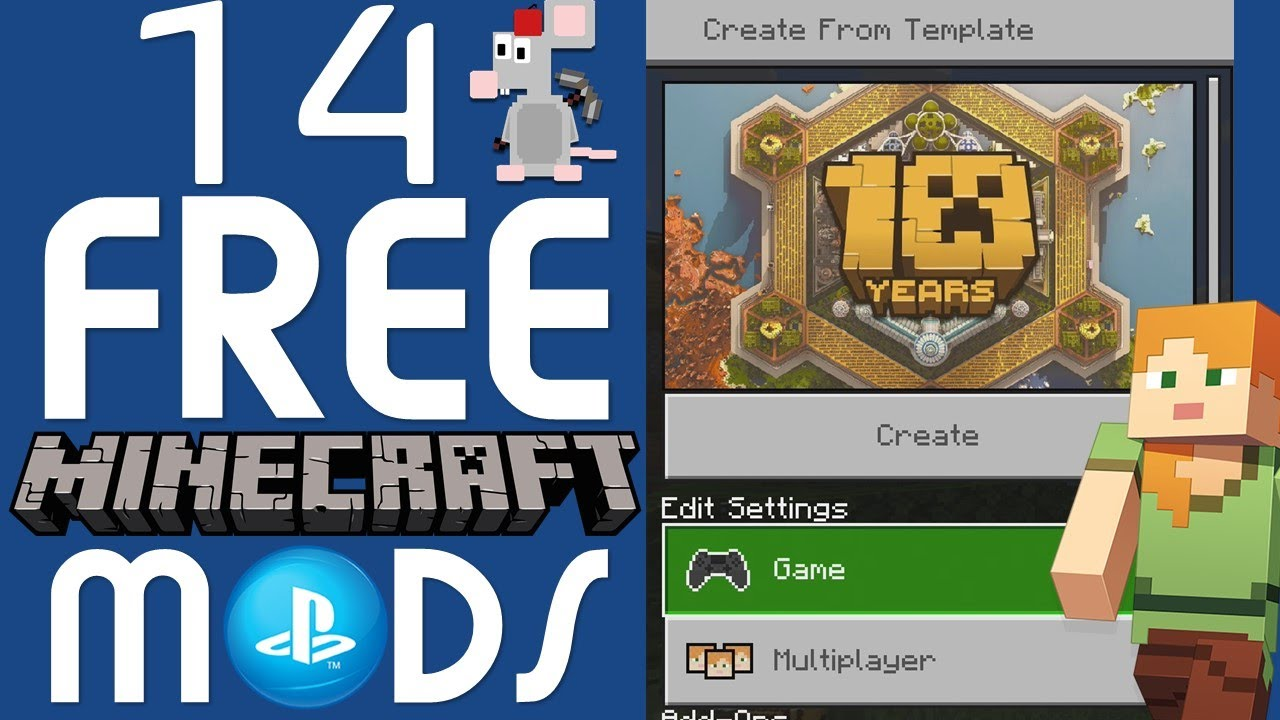 14 FREE MINECRAFT PS4 BEDROCK MODS/MARKETPLACE Packs How To Get