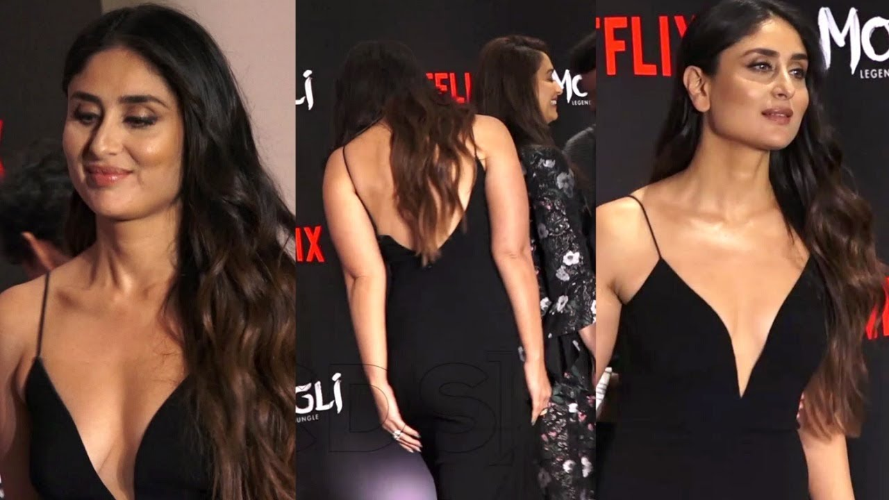 dd2d0610f28 Kareena Kapoor Hot In Low Neck Black Gown At Mowgli Netflix Screening