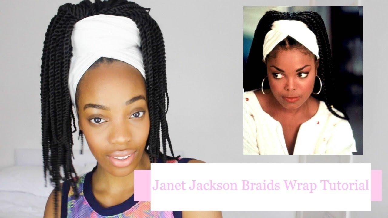 easy janet jackson poetic justice braids head wrap tutorial   dani noire