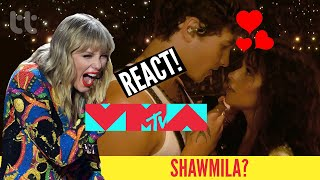 TAYLOR SWIFT, BEBE REXHA, JONAS BROTHERS REACT TO SHAWN & CAMILA - SEÑORITA (2019 VMAs LIVE)