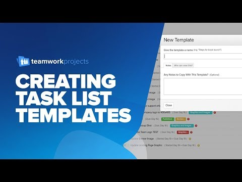 Teamwork Projects - Creating Task List Templates