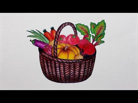 Vegetable Basket Drawing - How To Draw Vegetable Basket    Step By Step Tutorial