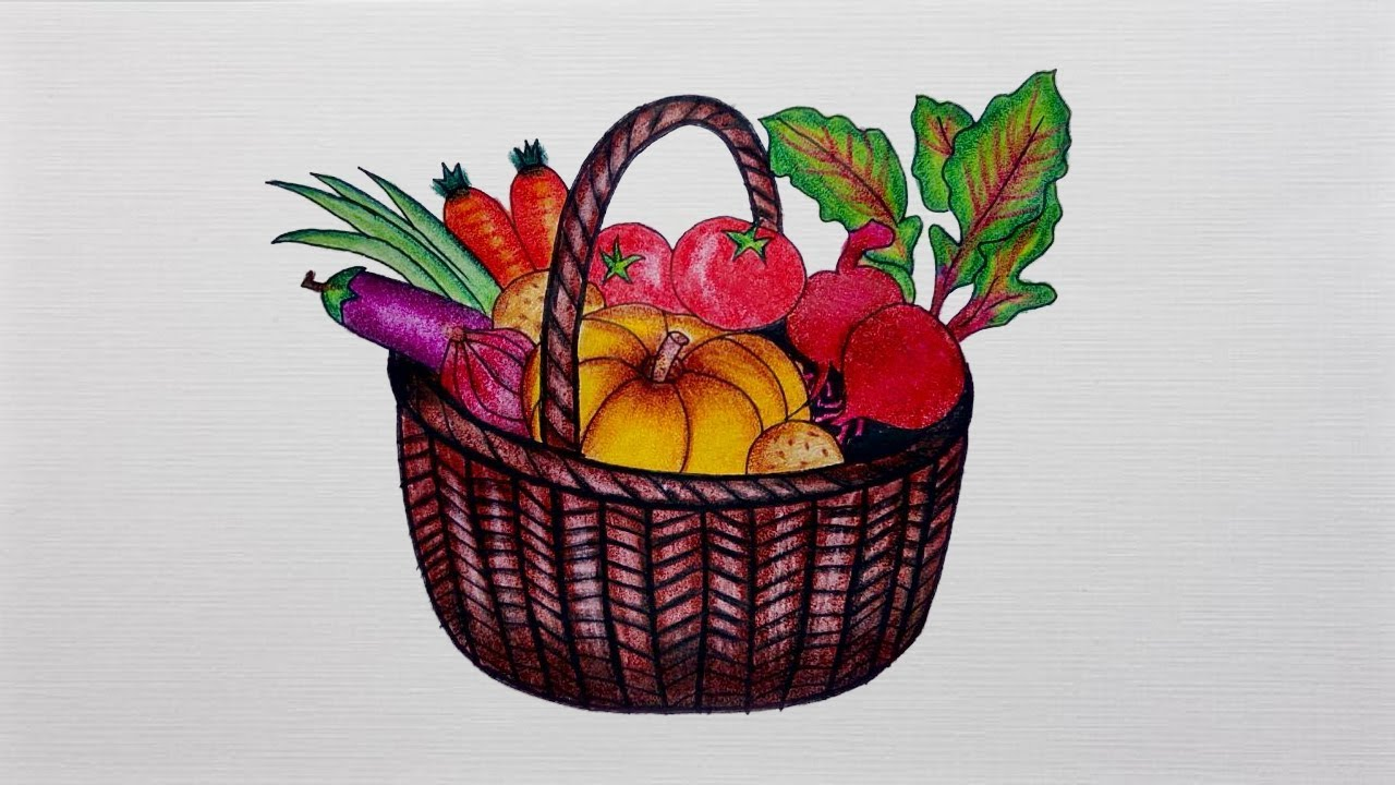 Vegetable Basket Drawing   How To Draw Vegetable Basket Step By Step