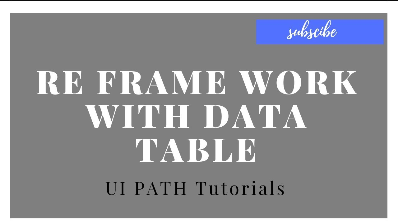 UiPath Tutorials For Beginners - Re Framework Examples || With Data