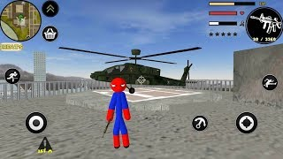 Spider Stickman Rope Hero Gangstar Crime + Helicopter (Android Gameplay)