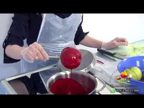 Яблоки и прочие фрукты в карамели. Обучающее видео компании Полезные сладости.