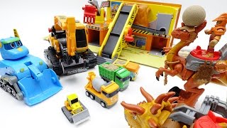 Dinosaur Warriors attack Tayo Minions Construction Yard~! Help them~!