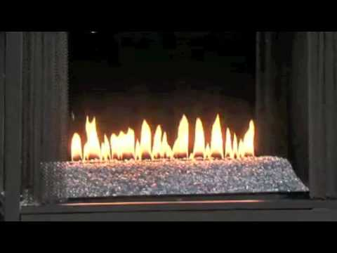 Ventless Gas Fireplace with Flame with Fire Glass and See