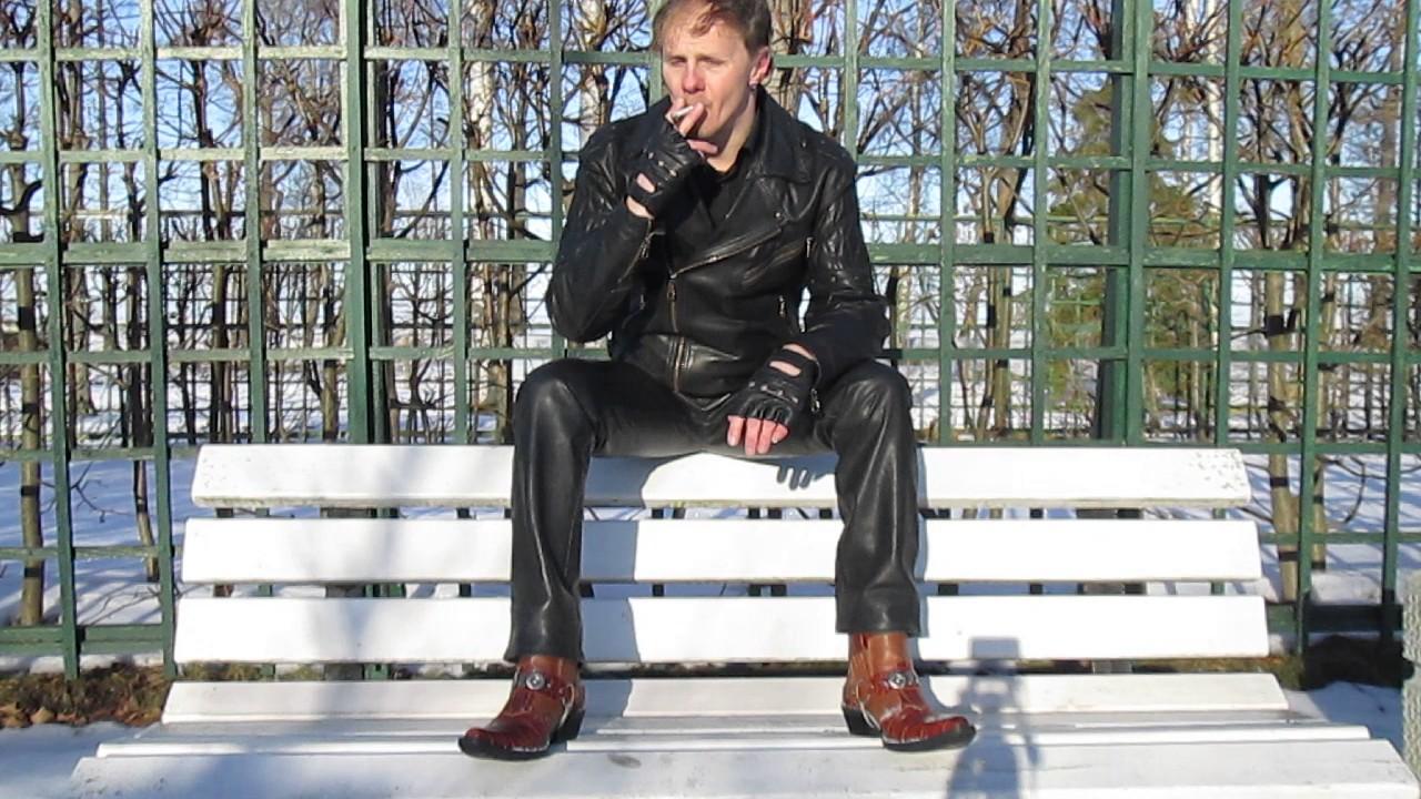men Gay smoking leather