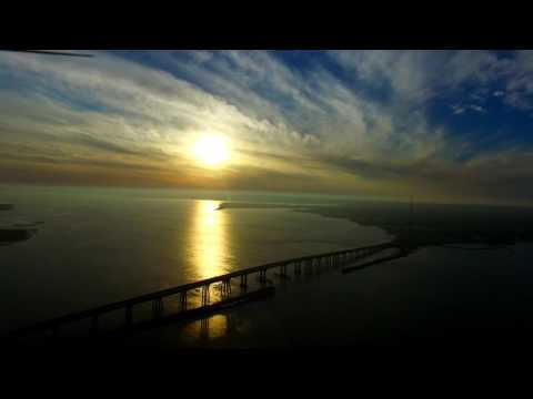 Drone Hyperlapse of Sunset Ponquogue Bridge Hampton Bays Long Island New York Hamptons From Above