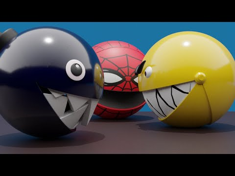 Gold Pacman 3D Vs Chain Chomp And Pacman Spider